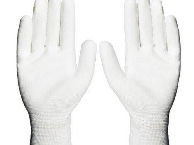 Rękawiczki robocze monterskie POLIURETAN 6-11 białe