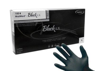 Rękawice diagnostyczne lateksowe bezpudrowe MaiMed Black S-XL