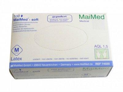 Rękawice lateksowe pudrowane MaiMed proTec 100 szt S-XL